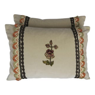 Custom Accent Pillows With Antique Flower Appliques, Pair For Sale