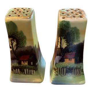 Vintage Hand-Painted Cottage Scene Salt and Pepper Shakers For Sale