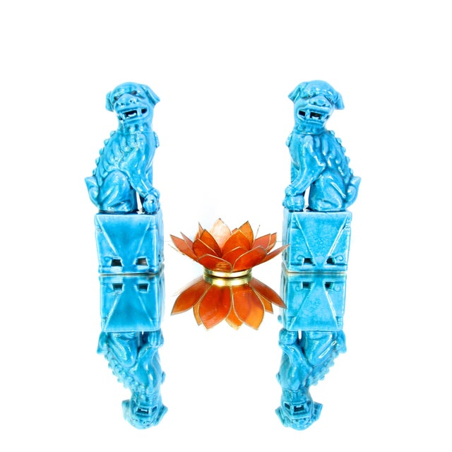 Turquoise Foo Dogs - A Pair - Image 2 of 10