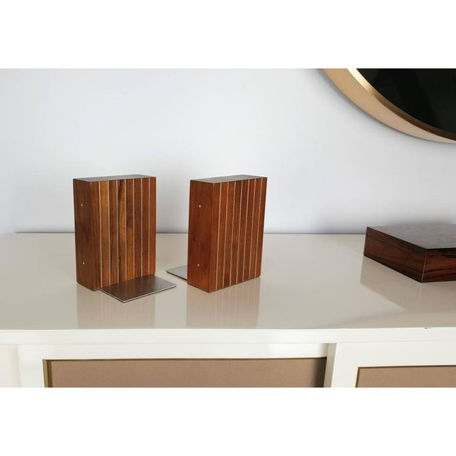 Rare bookends by Paul Evans and Phillip Lloyd Powell, 1960s. Excellent vintage condition.