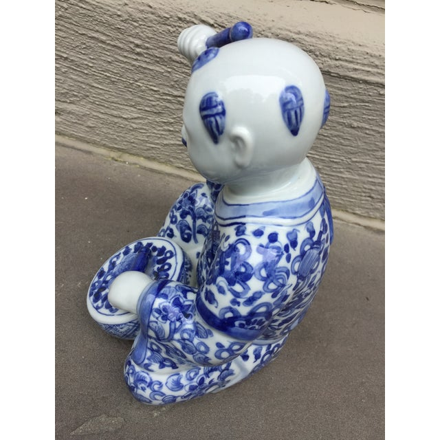 1970's Chinoiserie Blue and White Porcelain Sculpture Baby Buddha With Drum For Sale - Image 4 of 9