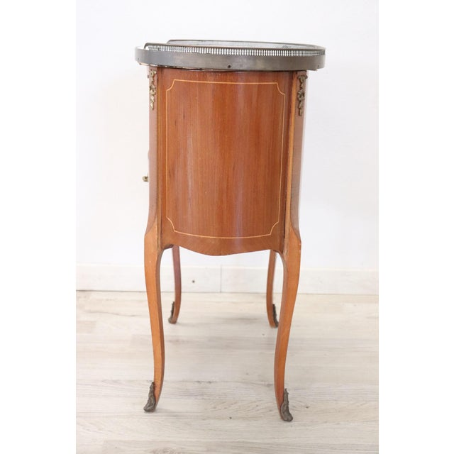 20th Century French Louis XV Style Wood Golden Bronzes Nightstand For Sale - Image 6 of 7