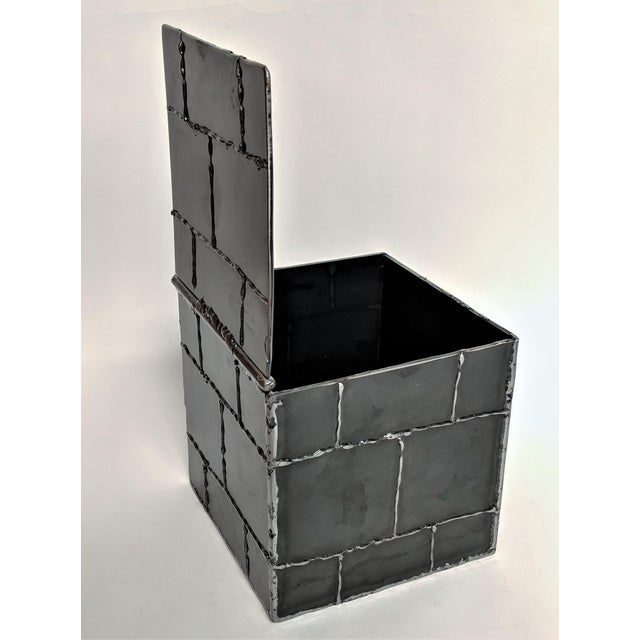 Brutalist Metal Box Hand Welded Box For Sale - Image 10 of 12