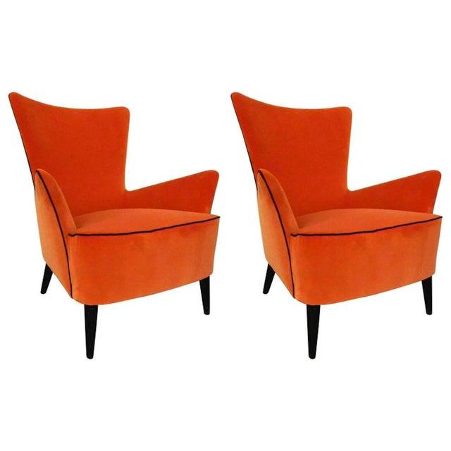 Orange Pair of Italian Mid Century Modern Reupholstered Orange Velvet Armchairs, 1960s For Sale - Image 8 of 8