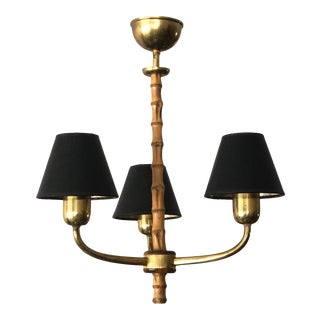 Elegant 1940s Austrian Brass and Bamboo Chandelier For Sale