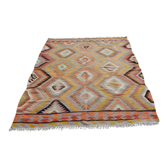 Vintage Turkish Kilim Rug - 5′5″ × 7′10 For Sale