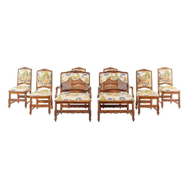 Large Set of Schumacher French Provincial Cane Wood Chinoiserie Upholstered Dining and Host Chairs by Interior Crafts - Set of 8 For Sale - Image 13 of 13