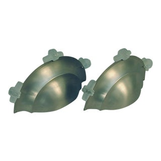 """Vintage """"Up-Light"""" French Art Deco Brushed Nickel Finish Wall Sconces by Petitot - a Pair For Sale"""