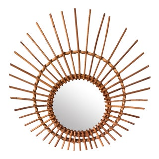 Mid-Century French Bamboo and Rattan Sunburst Mirror For Sale