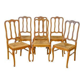 French Country Style Antique Oak Rush Seat Dining Chairs - Set of 6 For Sale