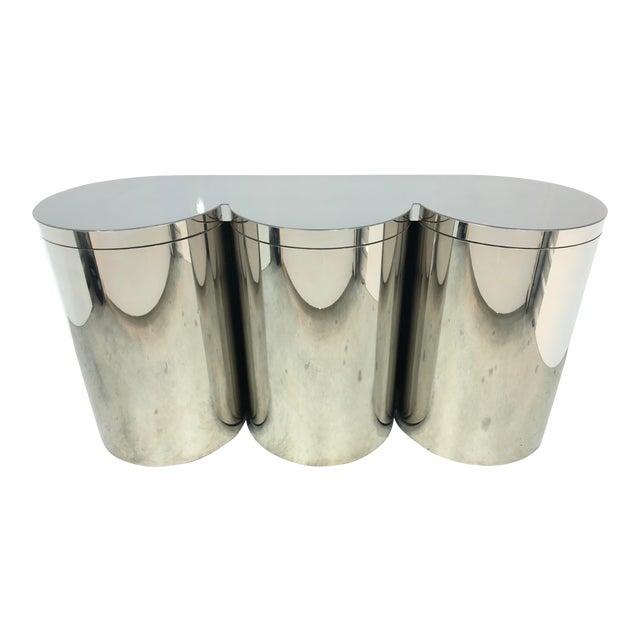 Paul Evans Mirror Polished Steel Cylinder Sideboard For Sale