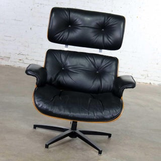 Mid Century Modern Selig Black Vinyl and Walnut Lounge Chair Style Eames Herman Miller Preview