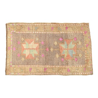 """Hand Knotted Mat Small Oushak Rug. Muted Colors Turkish Petite Rug - 2' X 3'1"""" For Sale"""