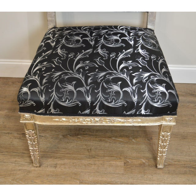 Black Silver Leaf French Regency Style Slipper Chair For Sale - Image 8 of 12