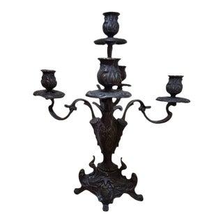 1960s Italian Gilt Bronze Five Light Candelabra For Sale