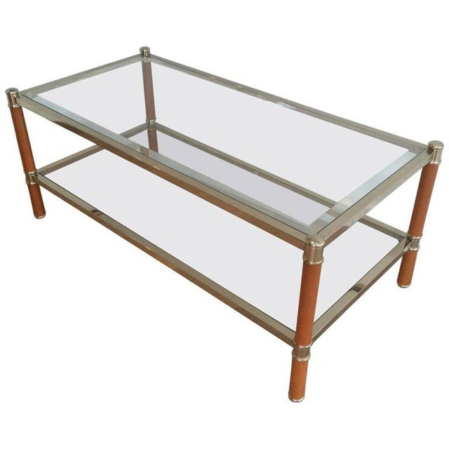 Gilt Brass and Leather Coffee Table by Lancel For Sale - Image 11 of 11