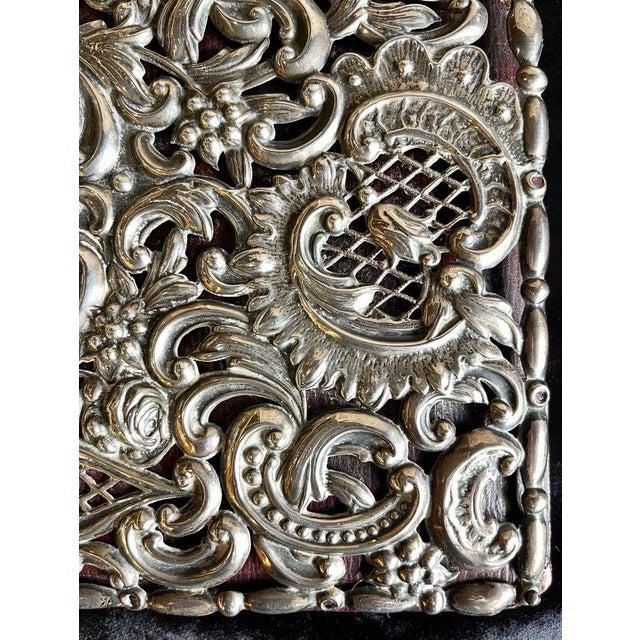 1930s Ornate Sterling Silver Book Cover Photo Scrap Album W Red Leather Interior For Sale - Image 5 of 13