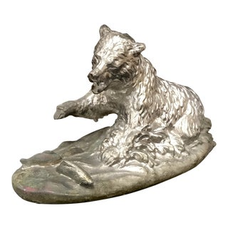 1970s Vintage Terrell O'Brien Signed Cast Bronze / Silver Metal Grizzly Bear Catching Fish Sculpture For Sale