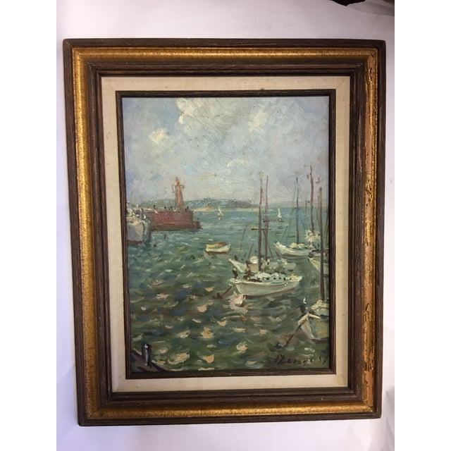 Mid-Century Modern Ivan Denysenko Harbor Painting For Sale - Image 3 of 9