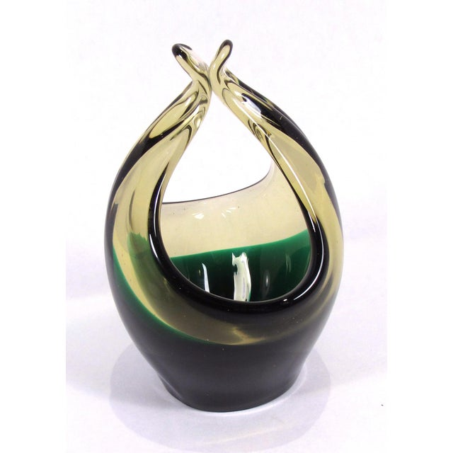Glass Vintage 1950s Cenedese Hand Blown Amber and Green Art Glass Basket For Sale - Image 7 of 12