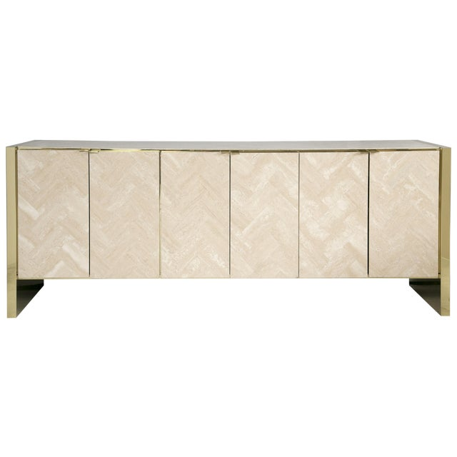 Ello Polished Travertine & Brass Credenza - Image 1 of 10