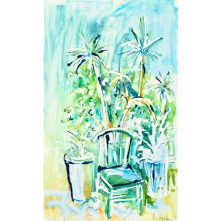 Contemporary Green Garden Painting For Sale