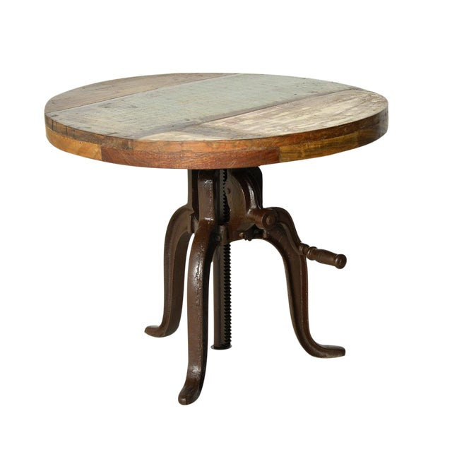 Reclaimed Wood Adjustable Crank Side Table - Image 1 of 2