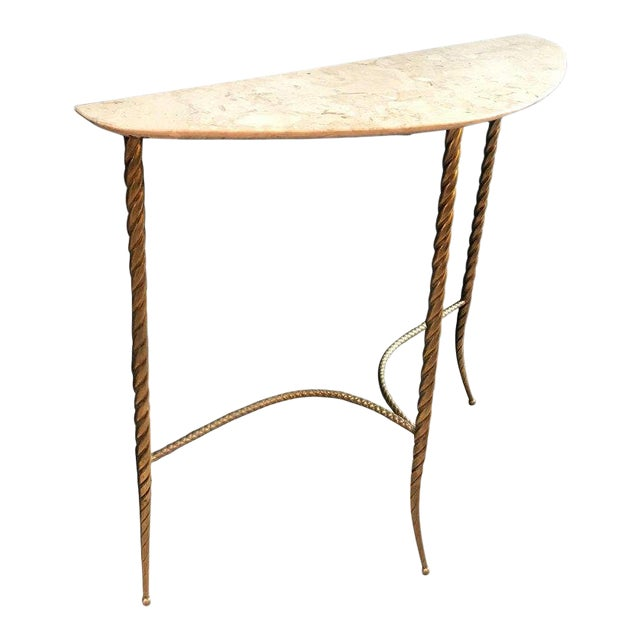 Console Table With Marble Top and Brass Legs, Italy 1940s For Sale