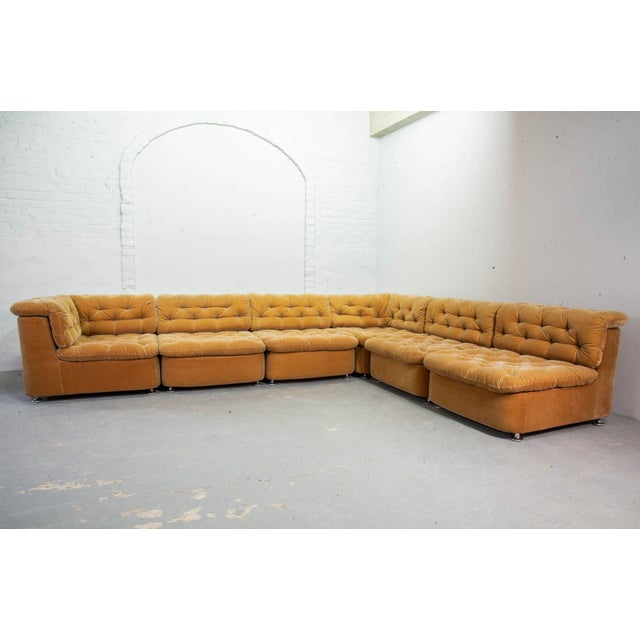 Mid-Century Design Peach Velvet Modular Lounge Sofaset, 6 Elements, Dreipunkt, Germany, 1970s For Sale - Image 6 of 11