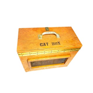 1950s Industrial Handmade Wooden Cat Carrier For Sale