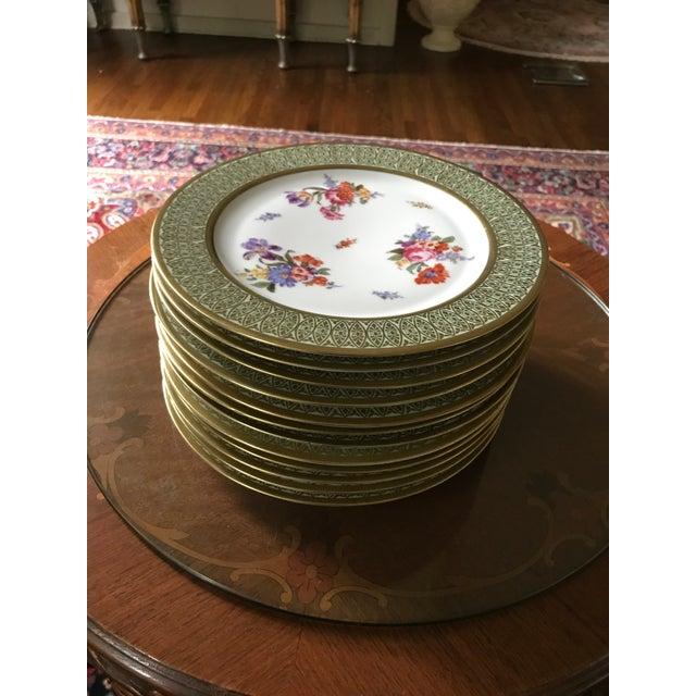 Bavaria Tirschenreuth Antique, Rare, Porcelain Plate Dresden Flowers Gold  Wide Band