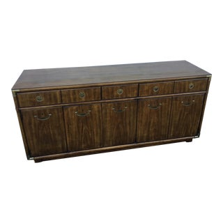 1980s Campaign Drexel Heritage Console Lowboy Dresser For Sale