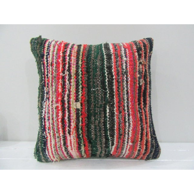 Vintage Handmade Green and Red Striped Turkish Kilim Pillow Cover For Sale - Image 4 of 4