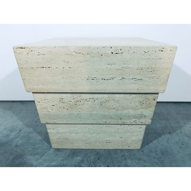 Stone 1970s Mid-Century Modern Italian Travertine Pedestal For Sale - Image 7 of 12