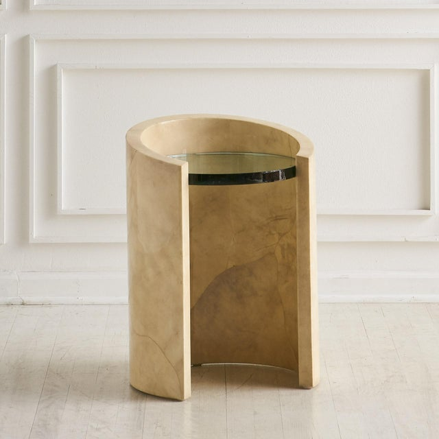 Ivory 1970s Lacquered Parchment Side Table by Ron Seff For Sale - Image 8 of 8