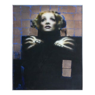 Marlene Dietrich Giclee on Canvas Signed West and Dated '82 For Sale