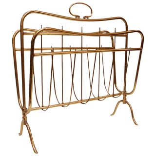 1950 Vintage Italian Brass Magazine Holder Attributed to Maffeis For Sale