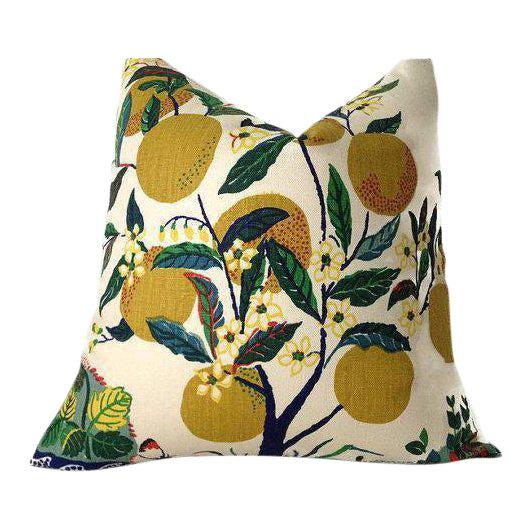 Schumacher Citrus Garden Linen Pillow Cover For Sale