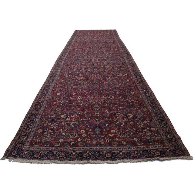 Baroque Antique Persian Mashad Extra Long Hallway Runner For Sale - Image 3 of 8
