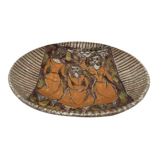Italian Handcrafted Art Studio Pottery Plate For Sale