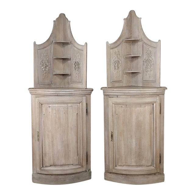 Pair 19th Century Country French Stripped Oak Corner Cabinets For Sale