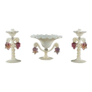 Barovier/Barbini Hand Blown Centerpiece Set With Grapes For Sale
