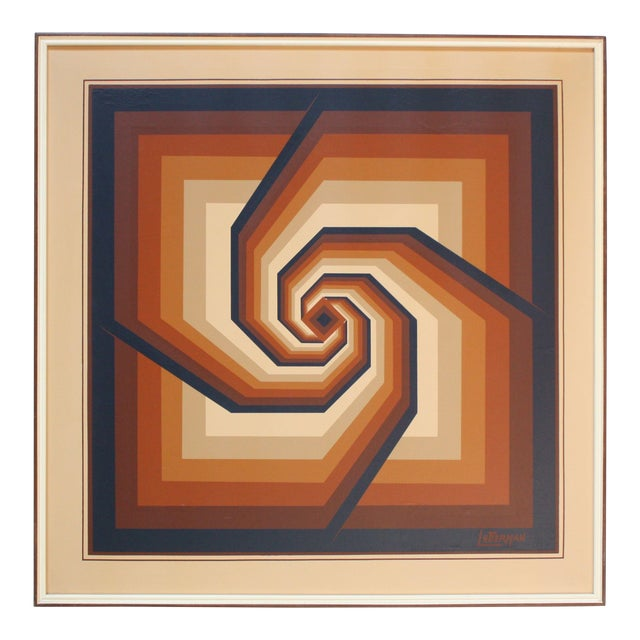 Oil on Canvas Geometric Op Art by Letterman For Sale