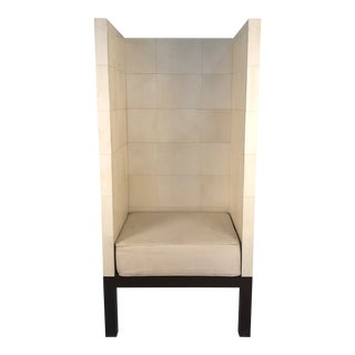 1990s Modern High Back Parchment Chair For Sale