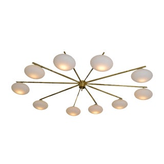 Ten Opaline Shade Brass Chandelier from Italy For Sale