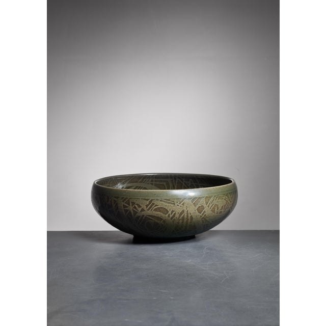 Mid-Century Modern Nils Thorsson Green Ceramic Bowl for Royal Copenhagen, 1950s For Sale - Image 3 of 3