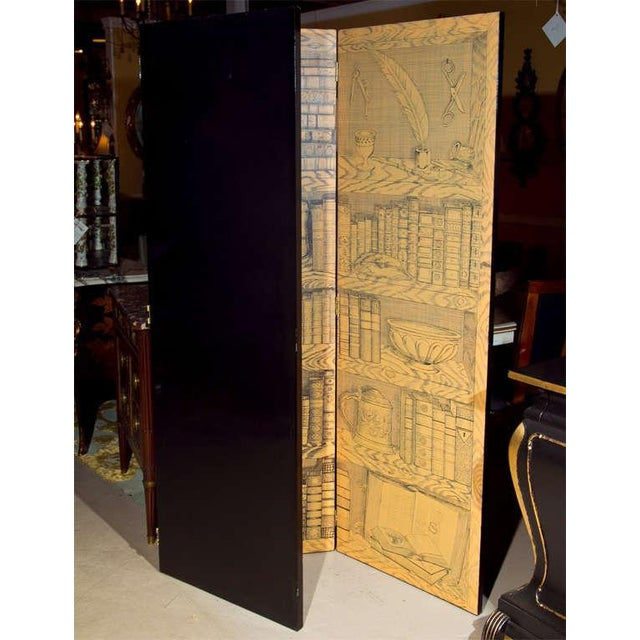 Brown Fornasetti Style Three Panel Screen For Sale - Image 8 of 8