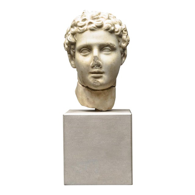 Hellenistic Marble Head of Alexander the Great For Sale