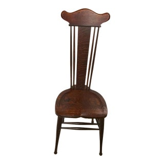 Antique Art Oak Spindle Back Chair For Sale