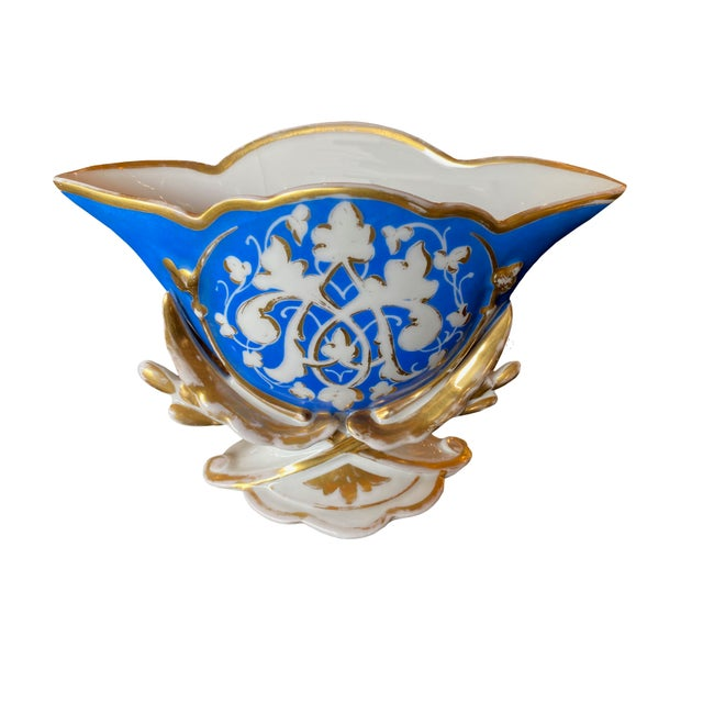 19th century old Paris porcelain fan flair vase in royal blue and white with gilt trim.